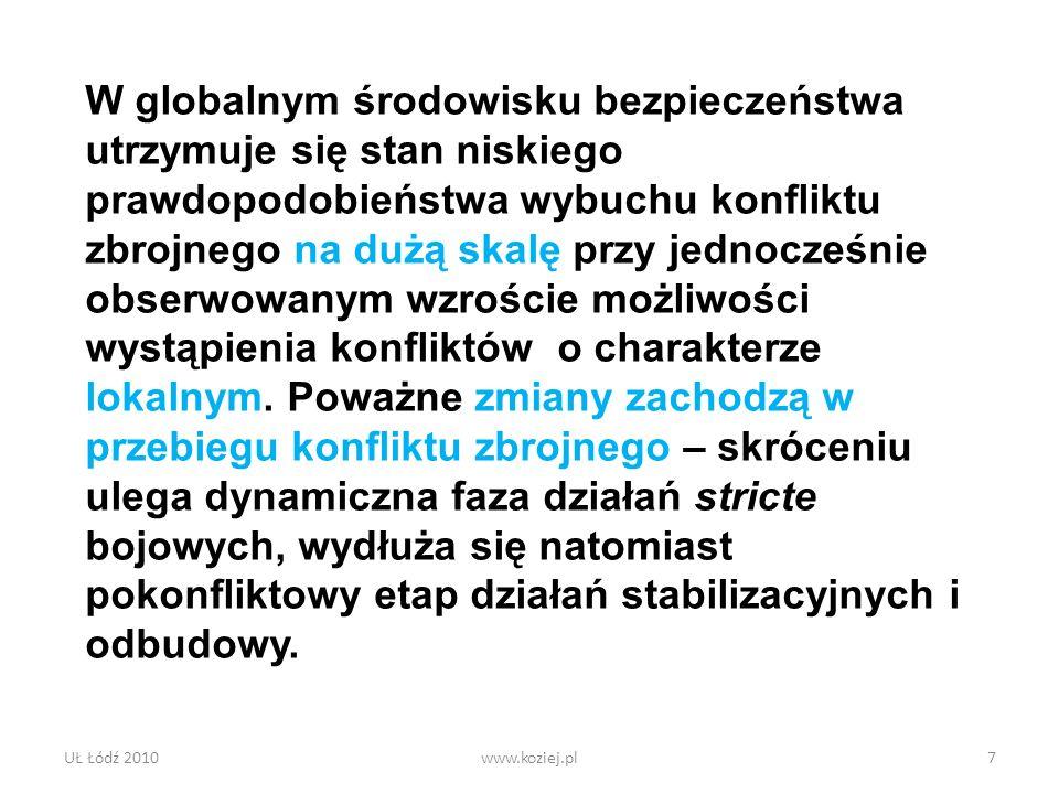 UŁ Łódź 2010www.koziej.pl7 W globalnym środowisku bezpieczeństwa utrzymuje się stan niskiego prawdopodobieństwa wybuchu konfliktu zbrojnego na dużą sk