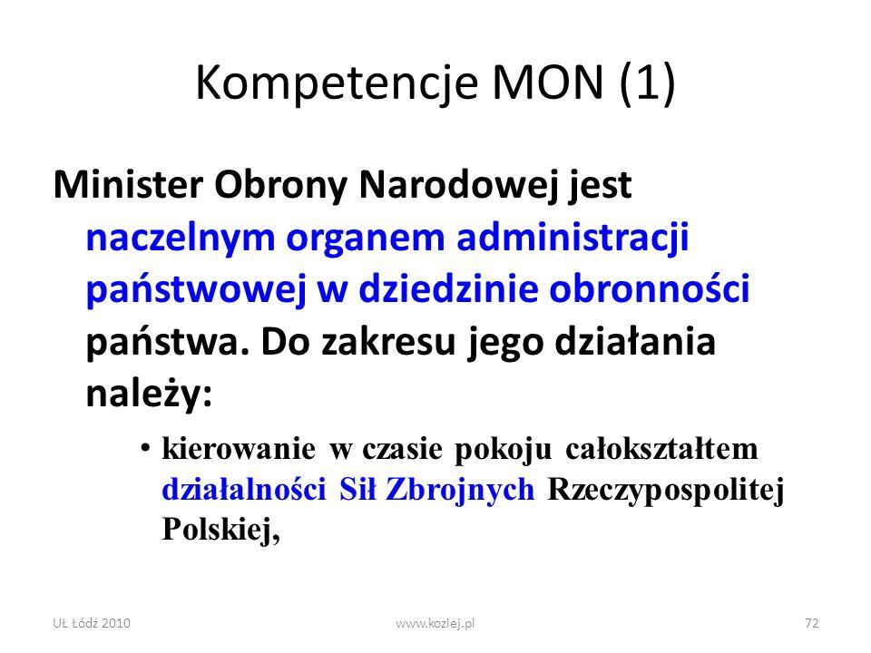 UŁ Łódź 2010www.koziej.pl72 Kompetencje MON (1) Minister Obrony Narodowej jest naczelnym organem administracji państwowej w dziedzinie obronności pańs