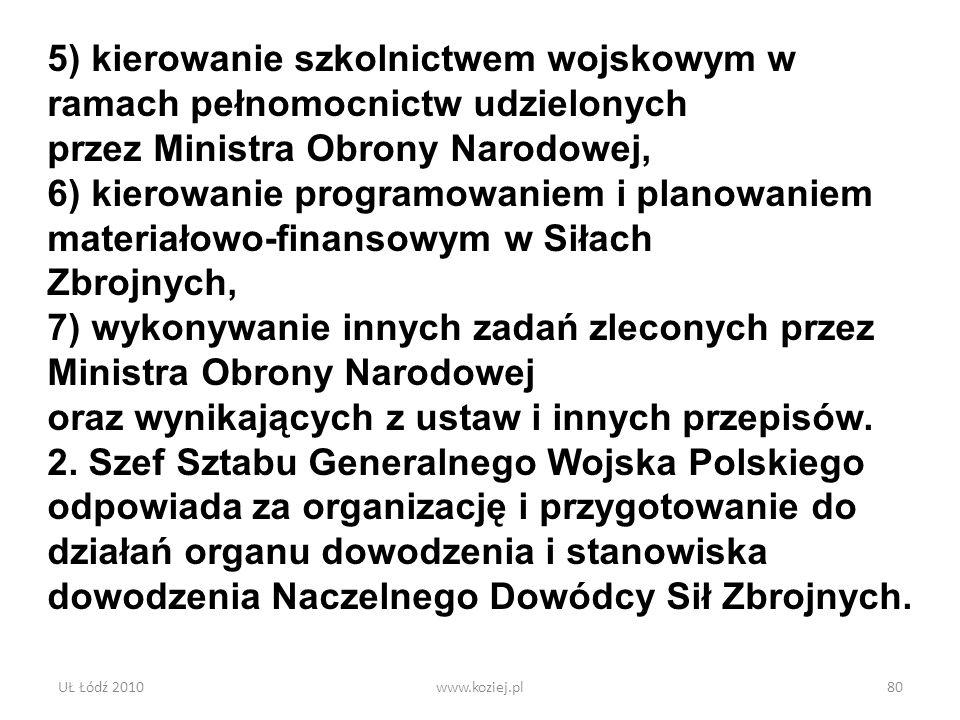 UŁ Łódź 2010www.koziej.pl80 5) kierowanie szkolnictwem wojskowym w ramach pełnomocnictw udzielonych przez Ministra Obrony Narodowej, 6) kierowanie pro