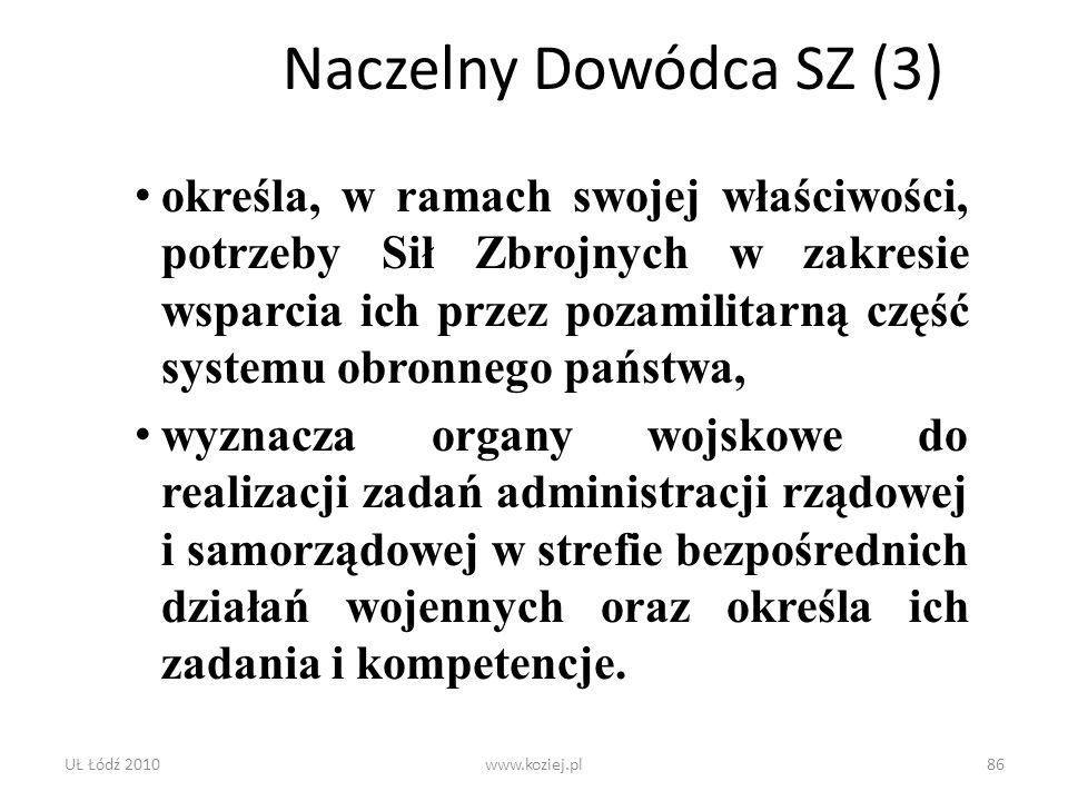 UŁ Łódź 2010www.koziej.pl86 Naczelny Dowódca SZ (3) określa, w ramach swojej właściwości, potrzeby Sił Zbrojnych w zakresie wsparcia ich przez pozamil