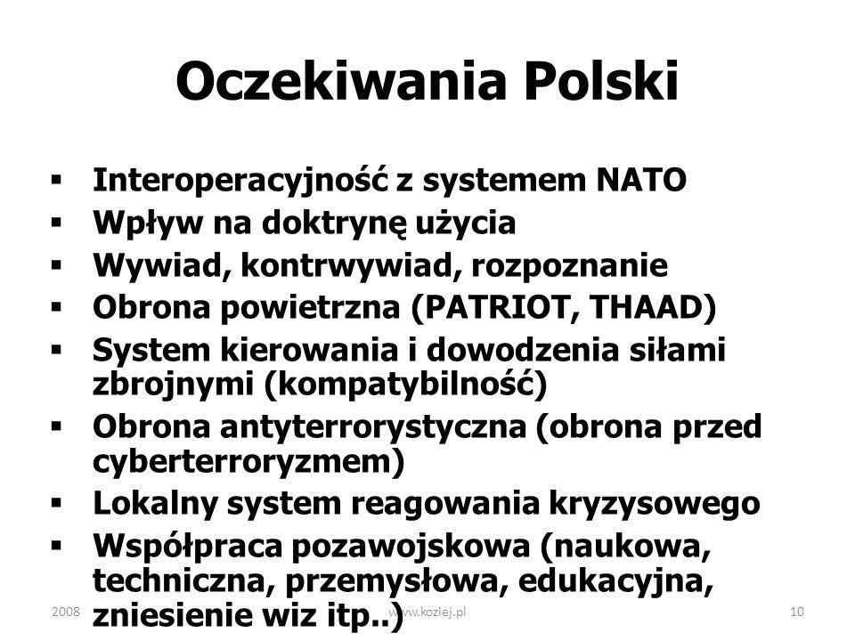 www.koziej.pl10 Oczekiwania Polski Interoperacyjność z systemem NATO Wpływ na doktrynę użycia Wywiad, kontrwywiad, rozpoznanie Obrona powietrzna (PATR