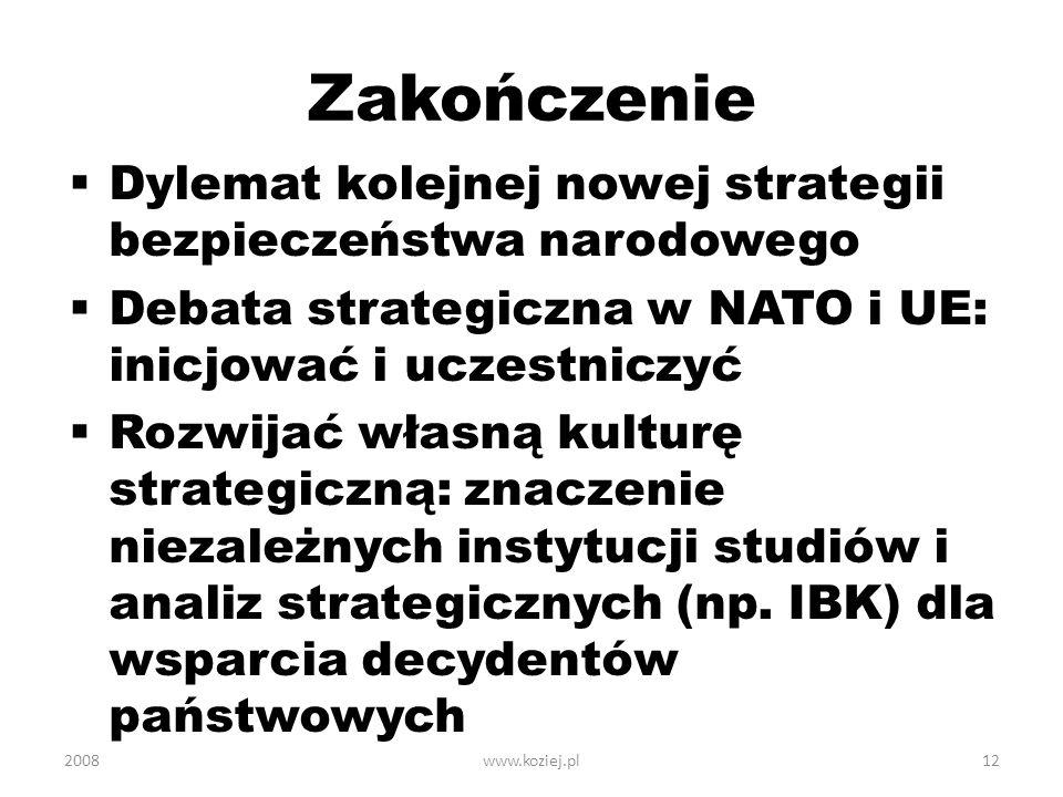 Zakończenie Dylemat kolejnej nowej strategii bezpieczeństwa narodowego Debata strategiczna w NATO i UE: inicjować i uczestniczyć Rozwijać własną kultu
