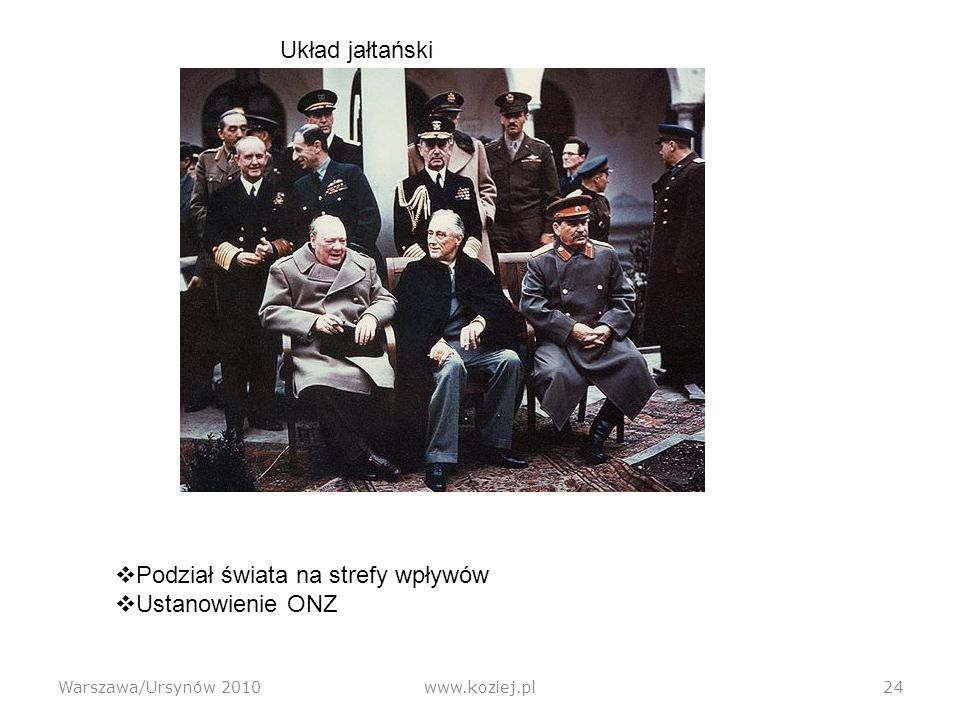Warszawa/Ursynów 2010www.koziej.pl24 Układ jałtański Podział świata na strefy wpływów Ustanowienie ONZ