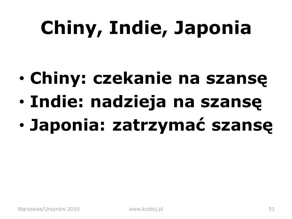 Chiny, Indie, Japonia Chiny: czekanie na szansę Indie: nadzieja na szansę Japonia: zatrzymać szansę Warszawa/Ursynów 2010www.koziej.pl51