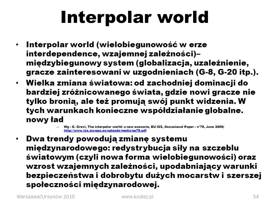 Interpolar world Interpolar world (wielobiegunowość w erze interdependence, wzajemnej zależności)– międzybiegunowy system (globalizacja, uzależnienie, gracze zainteresowani w uzgodnieniach (G-8, G-20 itp.).