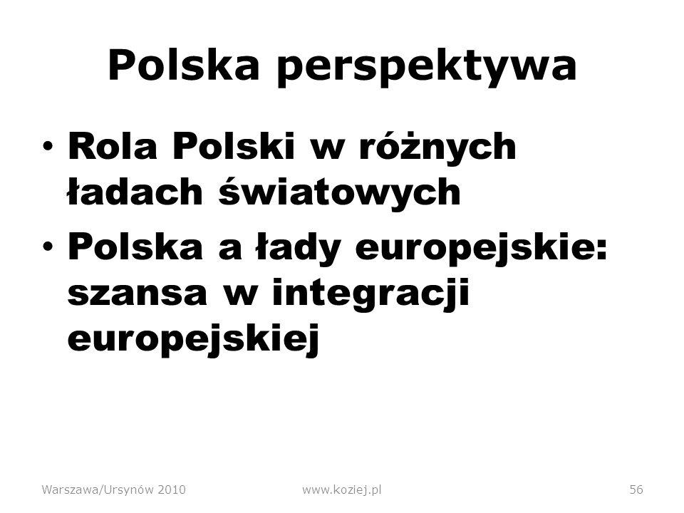 Polska perspektywa Rola Polski w różnych ładach światowych Polska a łady europejskie: szansa w integracji europejskiej Warszawa/Ursynów 2010www.koziej.pl56
