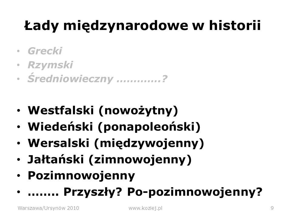 Prognoza przyszłej ewolucji ładu międzynarodowego Warszawa/Ursynów 2010www.koziej.pl30 Jaki może być dalszy ciąg dotychczasowej ewolucji.