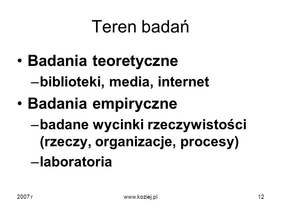 Teren badań Badania teoretyczne –biblioteki, media, internet Badania empiryczne –badane wycinki rzeczywistości (rzeczy, organizacje, procesy) –laborat