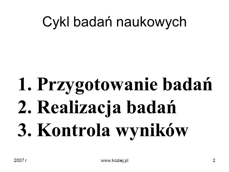 Cykl badań naukowych 1. Przygotowanie badań 2. Realizacja badań 3. Kontrola wyników 2007 r2www.koziej.pl