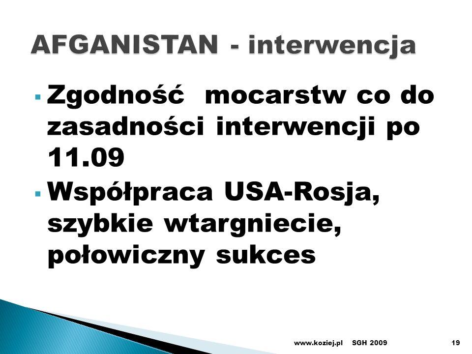 Zgodność mocarstw co do zasadności interwencji po 11.09 Współpraca USA-Rosja, szybkie wtargniecie, połowiczny sukces SGH 2009www.koziej.pl19
