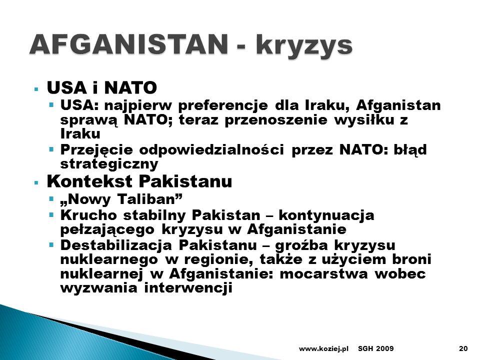 USA i NATO USA: najpierw preferencje dla Iraku, Afganistan sprawą NATO; teraz przenoszenie wysiłku z Iraku Przejęcie odpowiedzialności przez NATO: błą