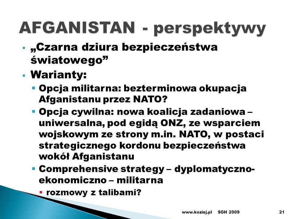 Czarna dziura bezpieczeństwa światowego Warianty: Opcja militarna: bezterminowa okupacja Afganistanu przez NATO? Opcja cywilna: nowa koalicja zadaniow