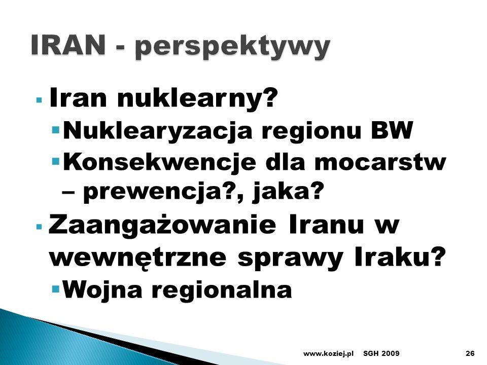 Iran nuklearny? Nuklearyzacja regionu BW Konsekwencje dla mocarstw – prewencja?, jaka? Zaangażowanie Iranu w wewnętrzne sprawy Iraku? Wojna regionalna