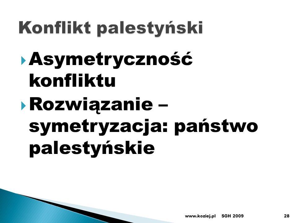 Asymetryczność konfliktu Rozwiązanie – symetryzacja: państwo palestyńskie SGH 2009www.koziej.pl28
