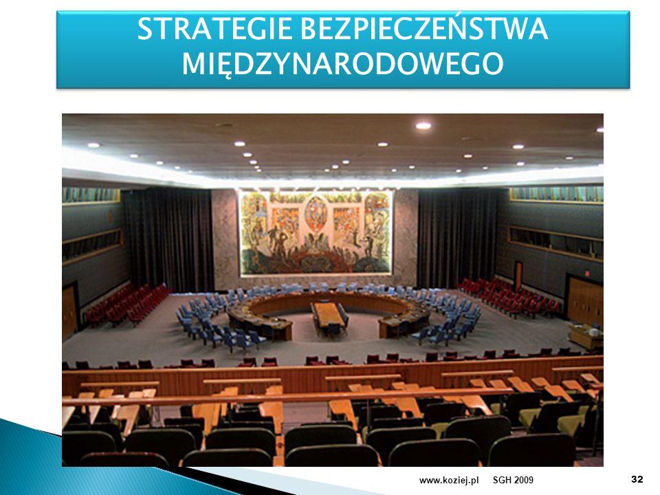 SGH 2009www.koziej.pl S STRATEGIE BEZPIECZEŃSTWA MIĘDZYNARODOWEGO STRATEGIE BEZPIECZEŃSTWA MIĘDZYNARODOWEGO 32