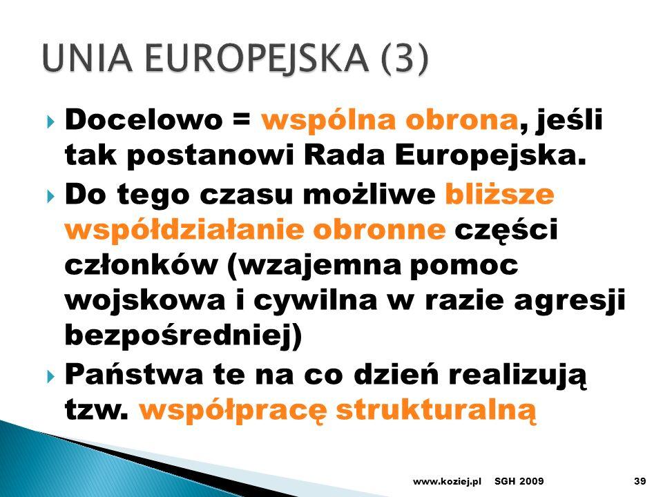 SGH 200939 Docelowo = wspólna obrona, jeśli tak postanowi Rada Europejska. Do tego czasu możliwe bliższe współdziałanie obronne części członków (wzaje