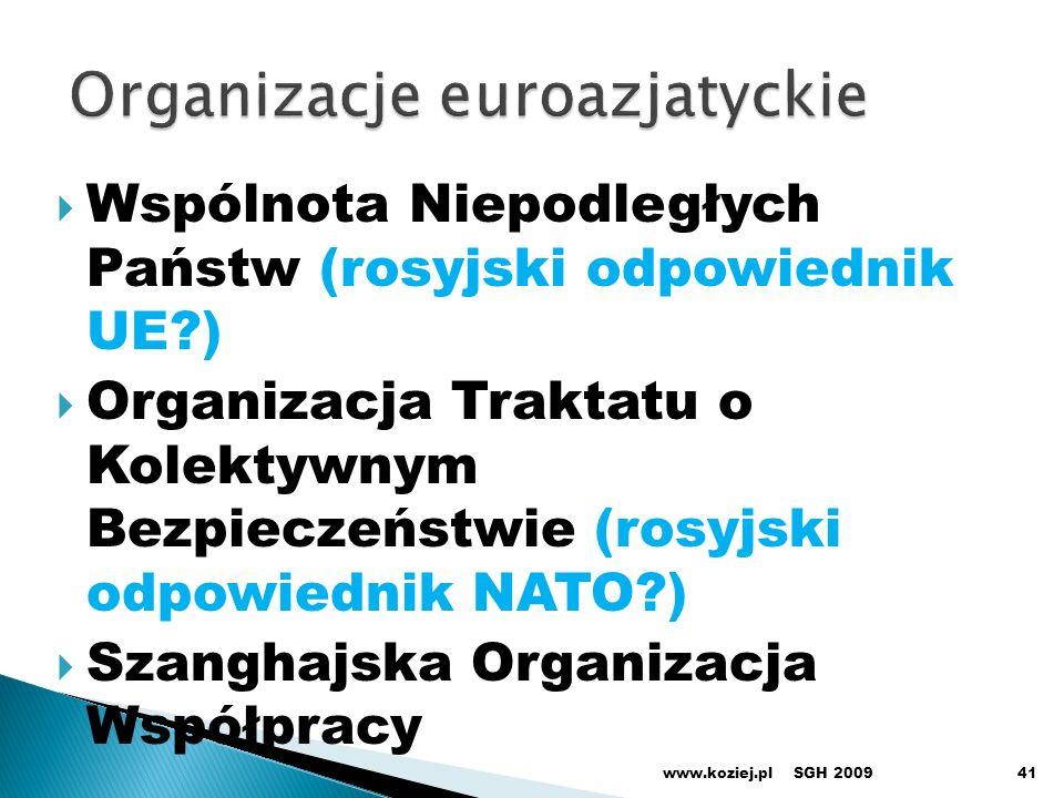 Wspólnota Niepodległych Państw (rosyjski odpowiednik UE?) Organizacja Traktatu o Kolektywnym Bezpieczeństwie (rosyjski odpowiednik NATO?) Szanghajska