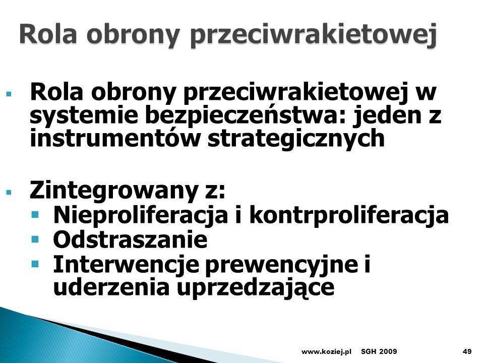 SGH 2009www.koziej.pl49 Rola obrony przeciwrakietowej w systemie bezpieczeństwa: jeden z instrumentów strategicznych Zintegrowany z: Nieproliferacja i