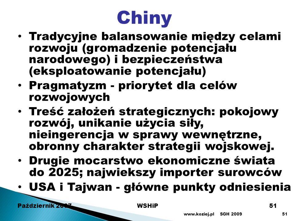 Październik 2007WSHiP51 Chiny Tradycyjne balansowanie między celami rozwoju (gromadzenie potencjału narodowego) i bezpieczeństwa (eksploatowanie poten