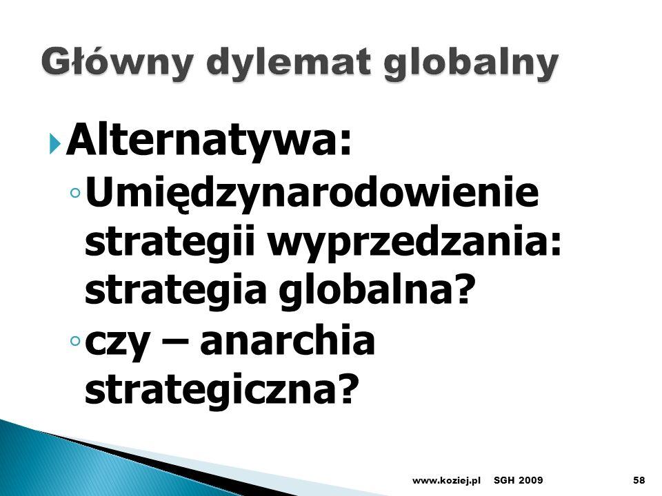 SGH 2009www.koziej.pl58 Alternatywa: Umiędzynarodowienie strategii wyprzedzania: strategia globalna? czy – anarchia strategiczna?