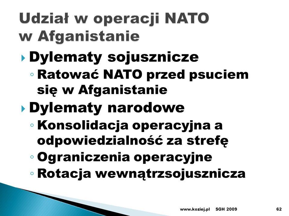 Dylematy sojusznicze Ratować NATO przed psuciem się w Afganistanie Dylematy narodowe Konsolidacja operacyjna a odpowiedzialność za strefę Ograniczenia