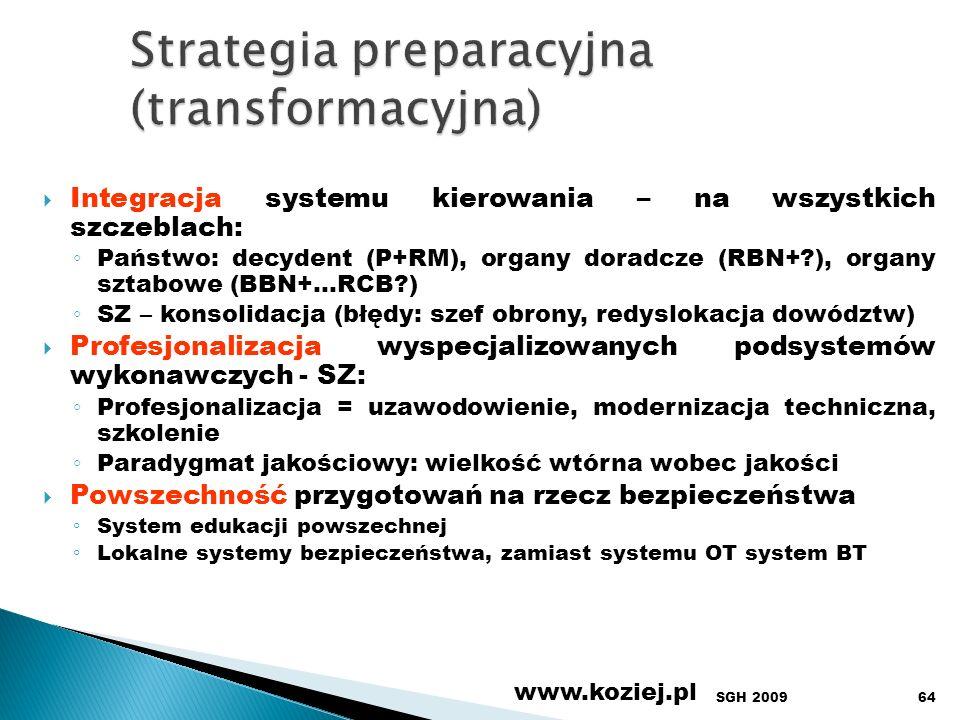 SGH 2009 www.koziej.pl 64 Integracja systemu kierowania – na wszystkich szczeblach: Państwo: decydent (P+RM), organy doradcze (RBN+?), organy sztabowe