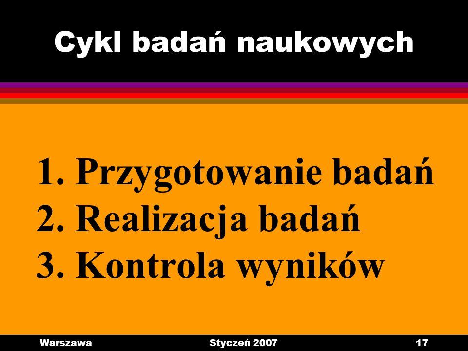 WarszawaStyczeń 200717 Cykl badań naukowych 1. Przygotowanie badań 2. Realizacja badań 3. Kontrola wyników