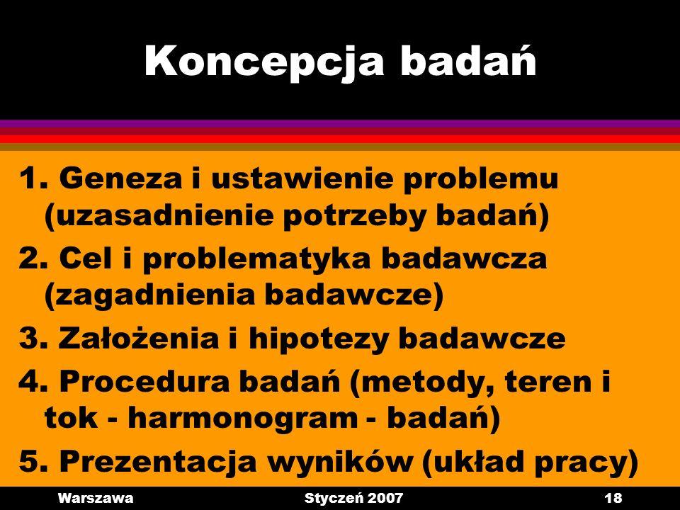 WarszawaStyczeń 200718 Koncepcja badań 1. Geneza i ustawienie problemu (uzasadnienie potrzeby badań) 2. Cel i problematyka badawcza (zagadnienia badaw