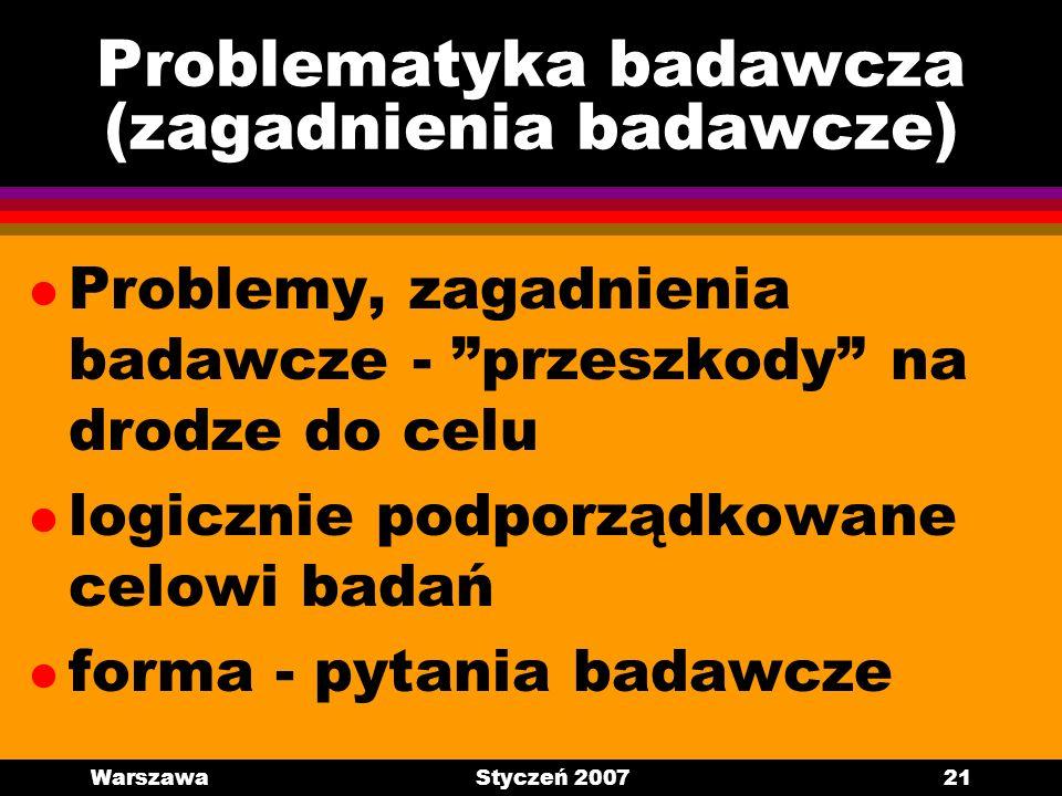 WarszawaStyczeń 200721 Problematyka badawcza (zagadnienia badawcze) l Problemy, zagadnienia badawcze - przeszkody na drodze do celu l logicznie podpor