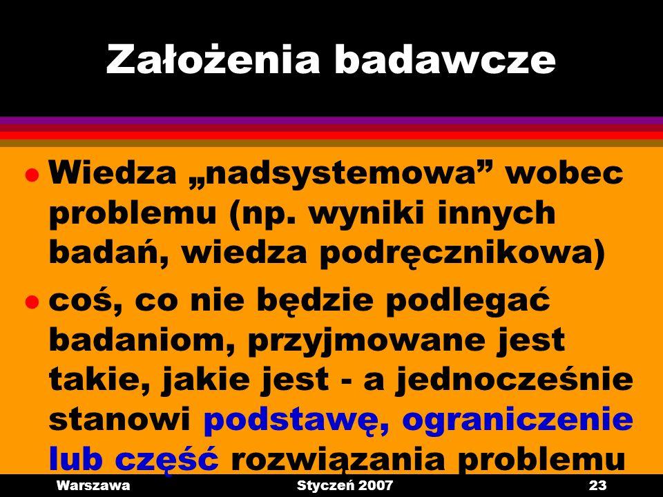 WarszawaStyczeń 200723 Założenia badawcze l Wiedza nadsystemowa wobec problemu (np. wyniki innych badań, wiedza podręcznikowa) l coś, co nie będzie po
