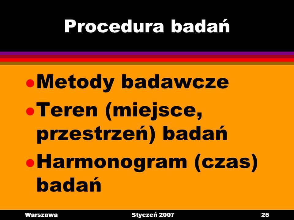 WarszawaStyczeń 200725 Procedura badań l Metody badawcze l Teren (miejsce, przestrzeń) badań l Harmonogram (czas) badań