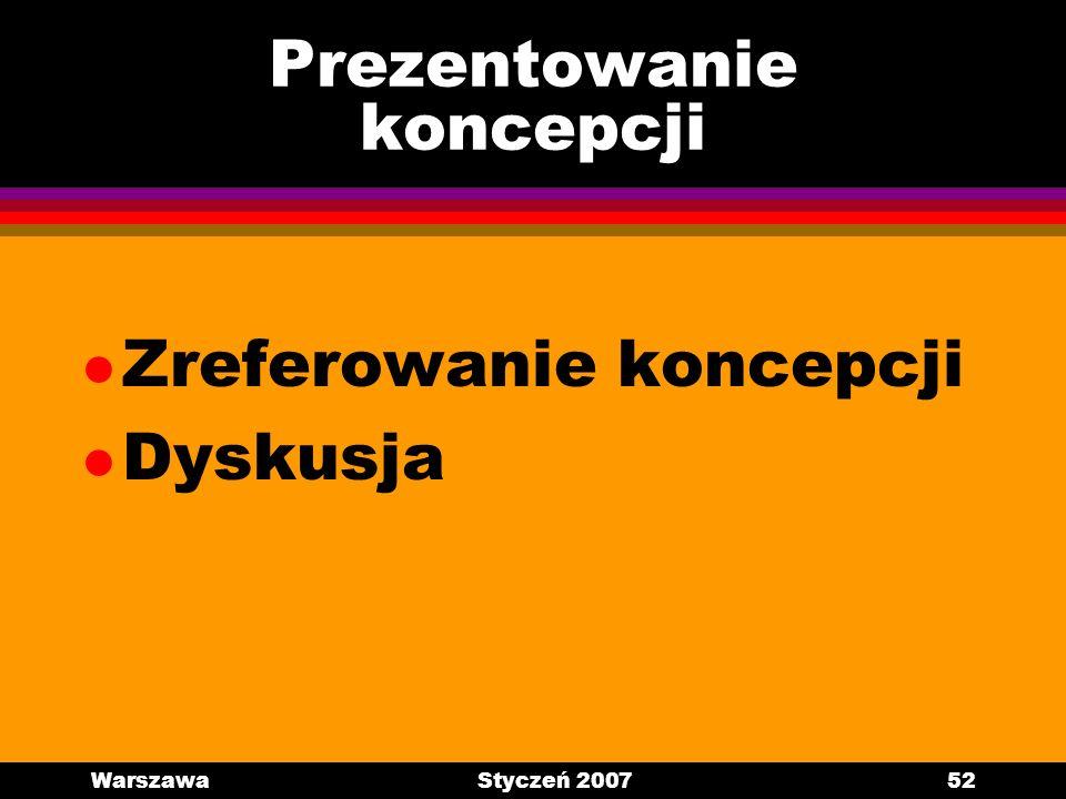 WarszawaStyczeń 200752 Prezentowanie koncepcji l Zreferowanie koncepcji l Dyskusja