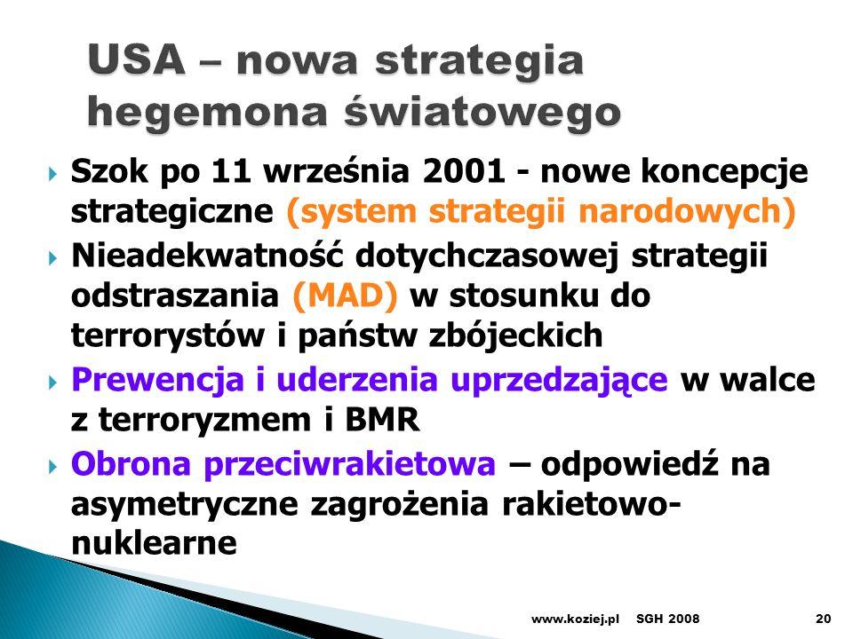 Szok po 11 września 2001 - nowe koncepcje strategiczne (system strategii narodowych) Nieadekwatność dotychczasowej strategii odstraszania (MAD) w stosunku do terrorystów i państw zbójeckich Prewencja i uderzenia uprzedzające w walce z terroryzmem i BMR Obrona przeciwrakietowa – odpowiedź na asymetryczne zagrożenia rakietowo- nuklearne SGH 2008www.koziej.pl20