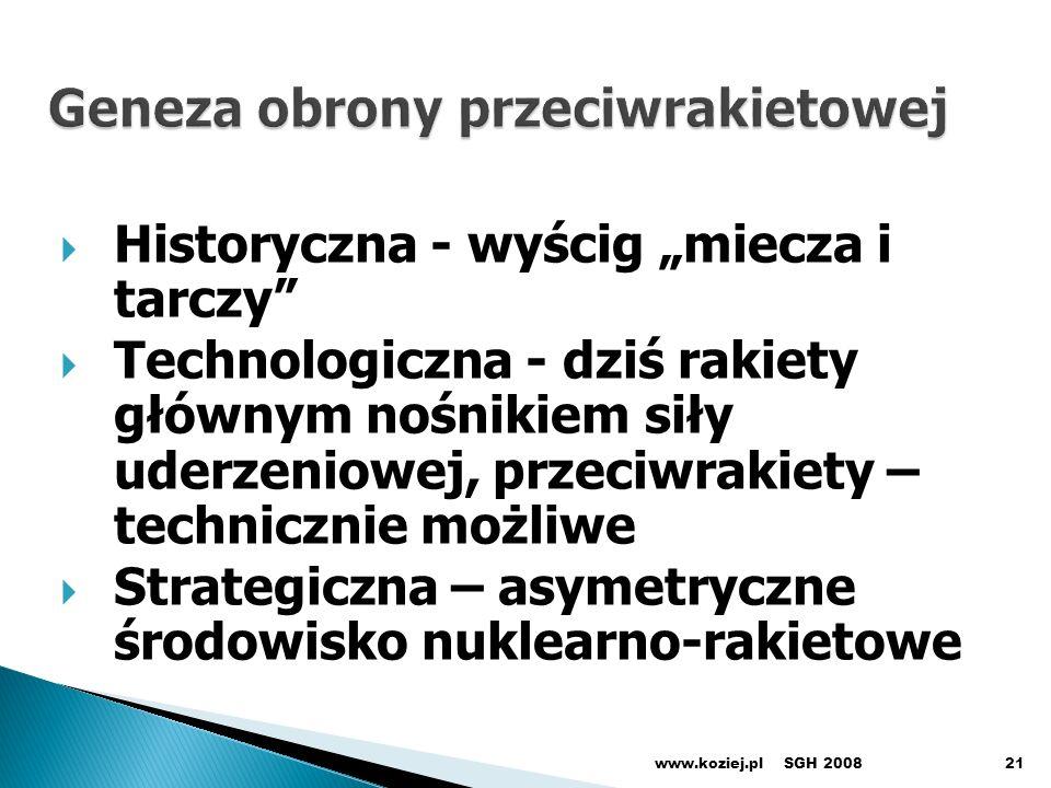 Historyczna - wyścig miecza i tarczy Technologiczna - dziś rakiety głównym nośnikiem siły uderzeniowej, przeciwrakiety – technicznie możliwe Strategiczna – asymetryczne środowisko nuklearno-rakietowe SGH 2008www.koziej.pl21