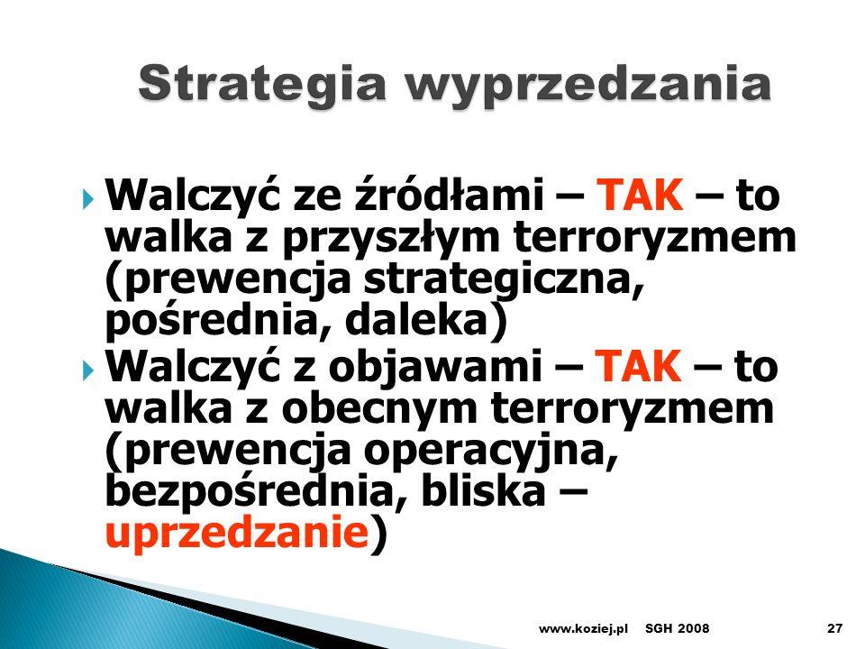 Walczyć ze źródłami – TAK – to walka z przyszłym terroryzmem (prewencja strategiczna, pośrednia, daleka) Walczyć z objawami – TAK – to walka z obecnym terroryzmem (prewencja operacyjna, bezpośrednia, bliska – uprzedzanie) SGH 2008www.koziej.pl27