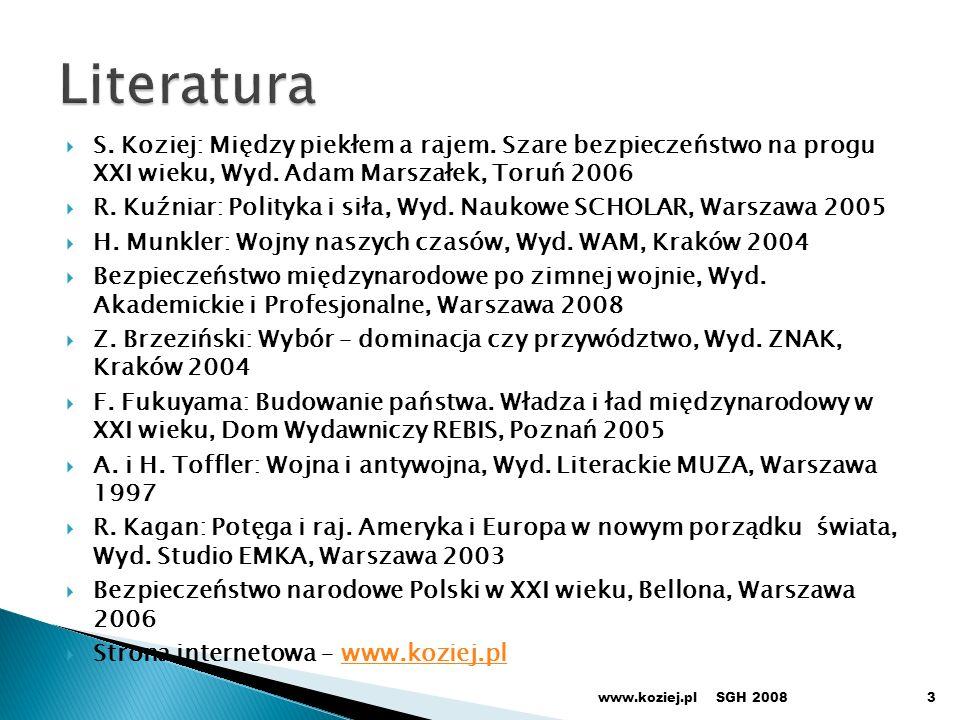 Strategiczny i operacyjny Komponenty: lądowy, morski, powietrzny, kosmiczny Podsystemy Wykrywania i śledzenia Niszczenia (kinetyczne, laserowe) w fazach: startu, lotu, ataku Kierowania SGH 2008www.koziej.pl24