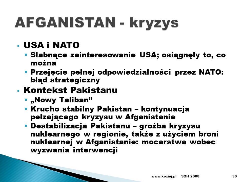 USA i NATO Słabnące zainteresowanie USA; osiągnęły to, co można Przejęcie pełnej odpowiedzialności przez NATO: błąd strategiczny Kontekst Pakistanu Nowy Taliban Krucho stabilny Pakistan – kontynuacja pełzającego kryzysu w Afganistanie Destabilizacja Pakistanu – groźba kryzysu nuklearnego w regionie, także z użyciem broni nuklearnej w Afganistanie: mocarstwa wobec wyzwania interwencji SGH 2008www.koziej.pl30