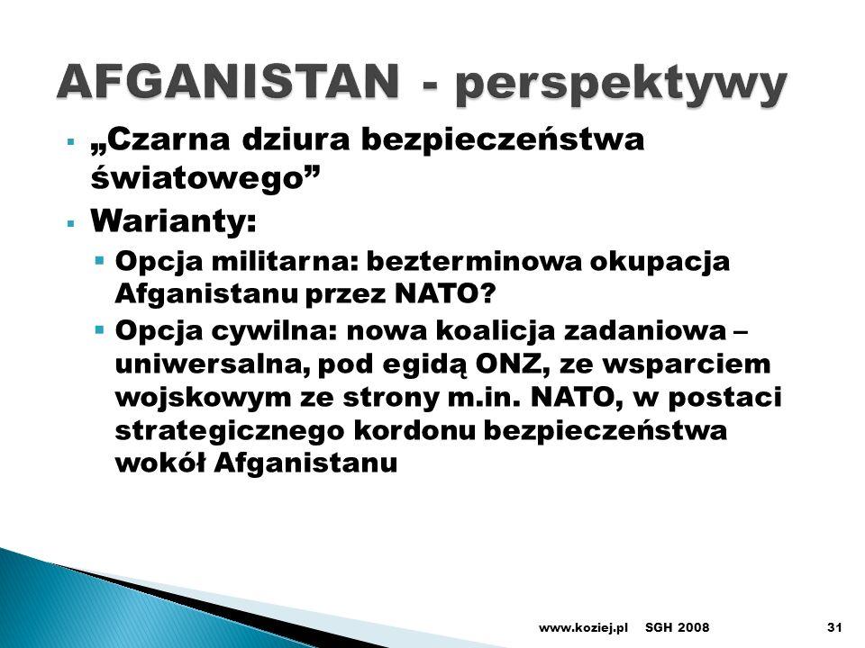 Czarna dziura bezpieczeństwa światowego Warianty: Opcja militarna: bezterminowa okupacja Afganistanu przez NATO.