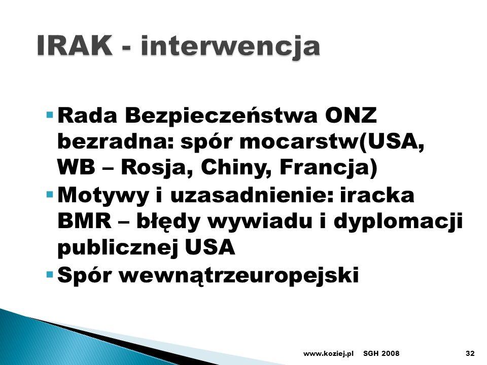 Rada Bezpieczeństwa ONZ bezradna: spór mocarstw(USA, WB – Rosja, Chiny, Francja) Motywy i uzasadnienie: iracka BMR – błędy wywiadu i dyplomacji publicznej USA Spór wewnątrzeuropejski SGH 2008www.koziej.pl32