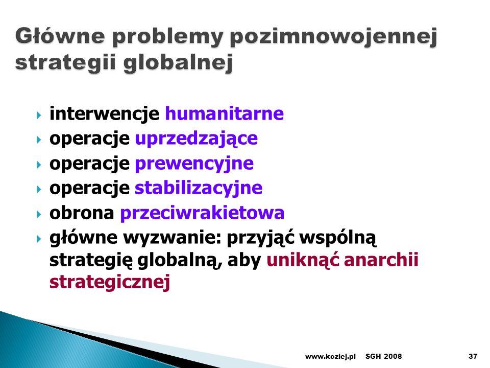 interwencje humanitarne operacje uprzedzające operacje prewencyjne operacje stabilizacyjne obrona przeciwrakietowa główne wyzwanie: przyjąć wspólną strategię globalną, aby uniknąć anarchii strategicznej SGH 2008www.koziej.pl37