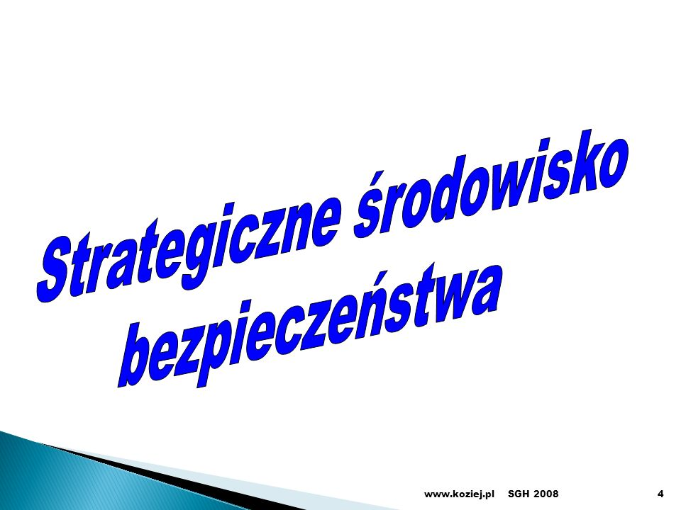 SGH 2008www.koziej.pl45 Rodzaje działań strategicznych działania prewencyjne - realizowane w czasie pokoju, obejmujące bieżące zapobieganie wystąpieniu zagrożeń poprzez neutralizowanie ich potencjalnych źródeł oraz stabilizowanie i umacnianie bezpiecznego środowiska (otoczenia) międzynarodowego Polski reagowanie kryzysowe - realizowane w razie wystąpienia zagrożenia bezpieczeństwa państwa lub bezpieczeństwa sojuszników oraz zagrożeń dla szerszego bezpieczeństwa międzynarodowego, obejmujące zarówno działania narodowe, jak i udział w wysiłkach międzynarodowych, podejmowanych w celu opanowania kryzysów oraz zapewnienia osłony przed ich skutkami działania wojenne - prowadzone w razie agresji na Polskę lub jej sojuszników, obejmujące wykorzystanie całego lub części potencjału państwa do odparcia agresji, poprzez przygotowanie i przeprowadzenie kampanii i operacji wojennych
