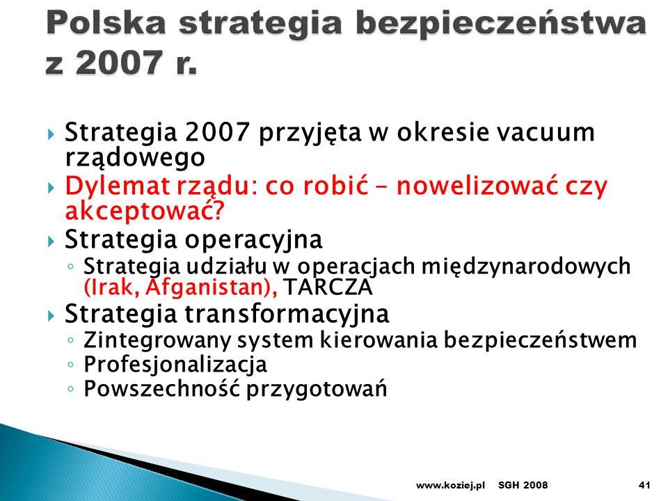 Strategia 2007 przyjęta w okresie vacuum rządowego Dylemat rządu: co robić – nowelizować czy akceptować.