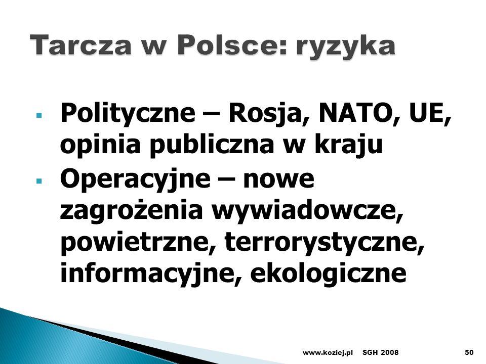 Polityczne – Rosja, NATO, UE, opinia publiczna w kraju Operacyjne – nowe zagrożenia wywiadowcze, powietrzne, terrorystyczne, informacyjne, ekologiczne SGH 2008www.koziej.pl50