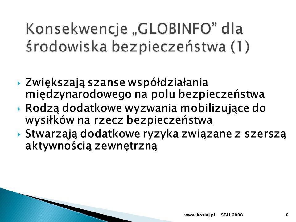 Zwiększają szanse współdziałania międzynarodowego na polu bezpieczeństwa Rodzą dodatkowe wyzwania mobilizujące do wysiłków na rzecz bezpieczeństwa Stwarzają dodatkowe ryzyka związane z szerszą aktywnością zewnętrzną SGH 2008www.koziej.pl6