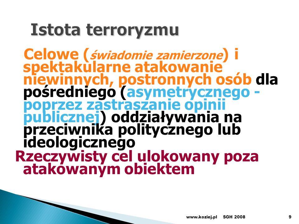 SGH 2008www.koziej.pl60 2007 Starogeneracyjne darowizny (sprzęt wczorajszy) Sprzęt na dziś Sprzęt na pojutrze (przyszłej generacji) L u k a czas potencjał Polska Tempo modernizacji SZ Państwa o nowoczesnych SZ Sprzęt na jutro Opcje strategii modernizacyjnych SZ RP: a)Strategia zapaści (pogodzenia się z losem) b)Strategia biernej kontynuacji (czekania na cud) c)Strategia ratunkowa (utrzymania dystansu) d)Strategia wyprzedzająca (przeskoku generacyjnego) 2020 - 2025