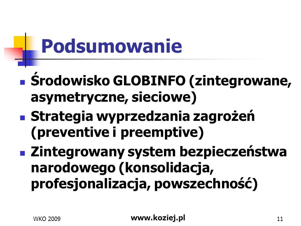 Podsumowanie Środowisko GLOBINFO (zintegrowane, asymetryczne, sieciowe) Strategia wyprzedzania zagrożeń (preventive i preemptive) Zintegrowany system