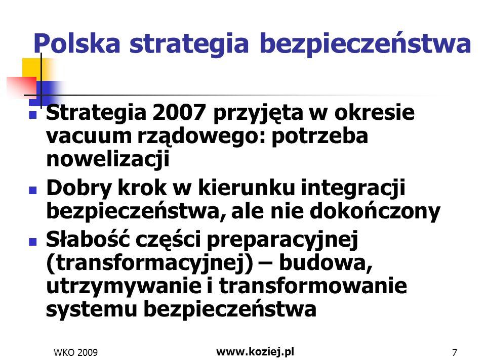 Strategia operacyjna Brak strategii sektorowych – w MON brak strategii wojskowej, przygotowywanie strategii obronności to błąd wyhamowujący proces integracji bezpieczeństwa narodowego Zaniechanie SPBN, organizowanie tylko SPO w MON – to drugi błąd z tej samej kategorii Strategia udziału w operacjach międzynarodowych – dobrze, ale: Raczej powinna być częścią strategii wojskowej Brak wielu koniecznych ustaleń (np.