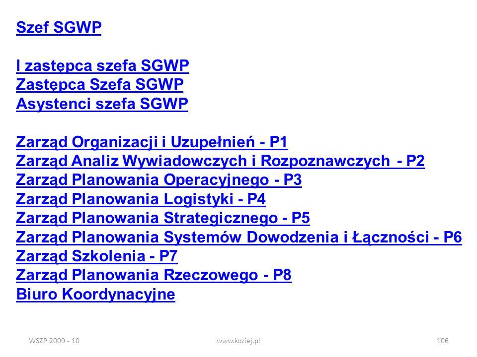 WSZP 2009 - 10www.koziej.pl106 Szef SGWP I zastępca szefa SGWP Zastępca Szefa SGWP Asystenci szefa SGWP Zarząd Organizacji i Uzupełnień - P1 Zarząd An