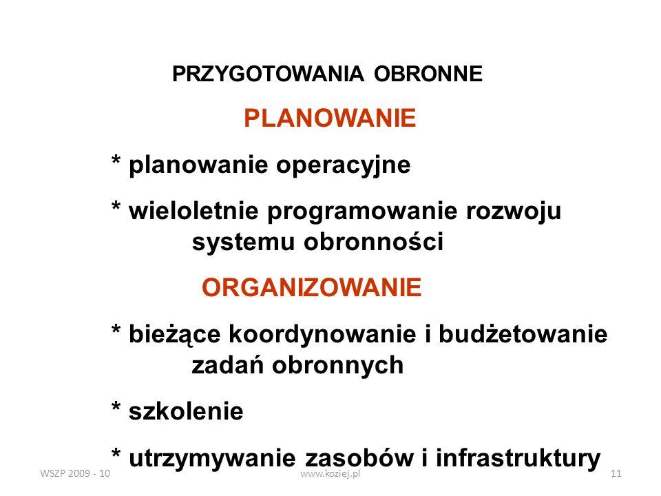 WSZP 2009 - 10www.koziej.pl11 PRZYGOTOWANIA OBRONNE PLANOWANIE * planowanie operacyjne * wieloletnie programowanie rozwoju systemu obronności ORGANIZO