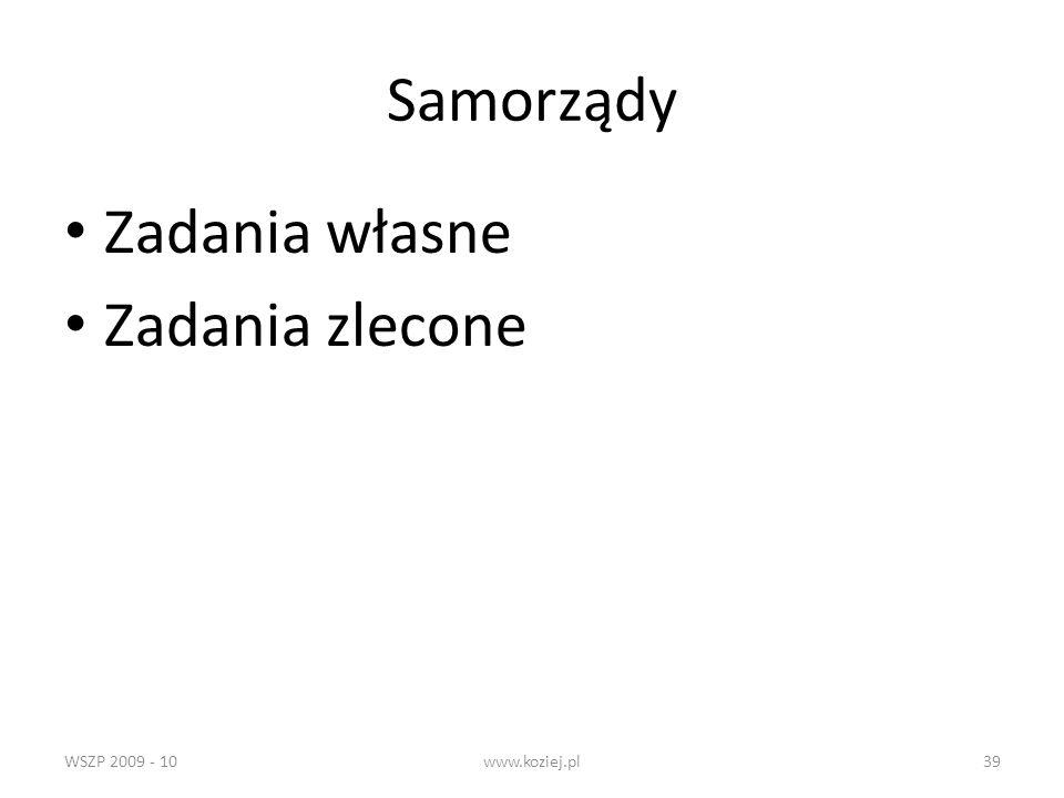 WSZP 2009 - 10www.koziej.pl39 Samorządy Zadania własne Zadania zlecone